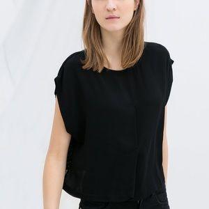 Zara • Black Boxy Crop Top Polka Dot Back Panel